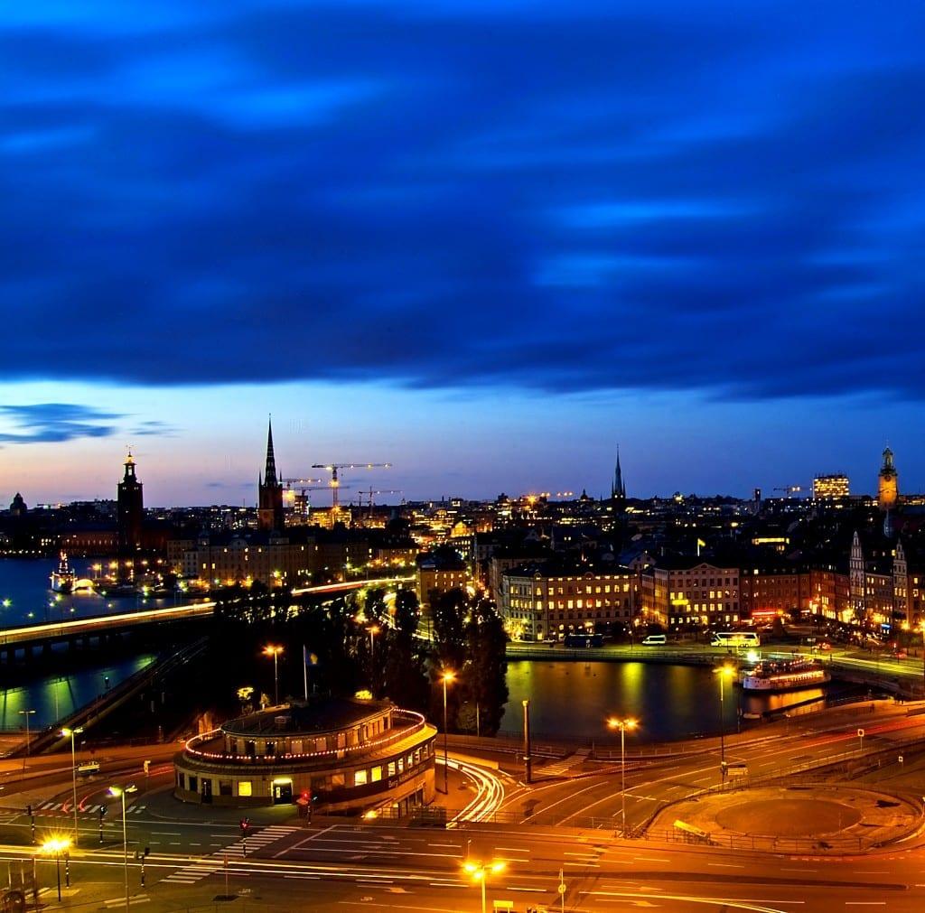 Schweden Stockholm nach Sonnenuntergang