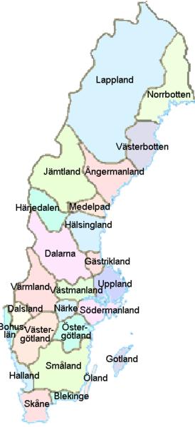 Landkarte Schweden Provinzen
