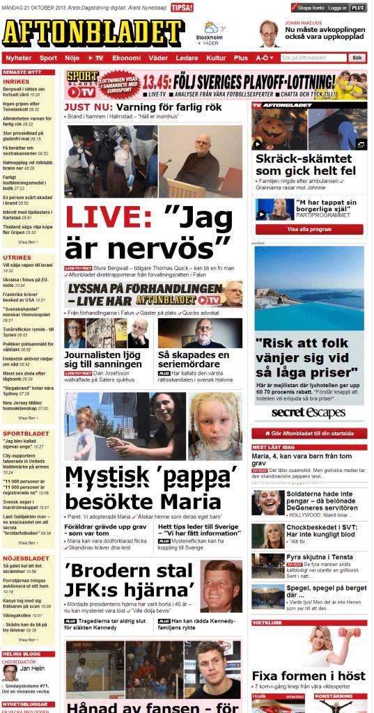 Schwedisches Online-Portal der Zeitung Aftonbladet