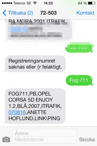 Autokennzeichen SMS Schweden