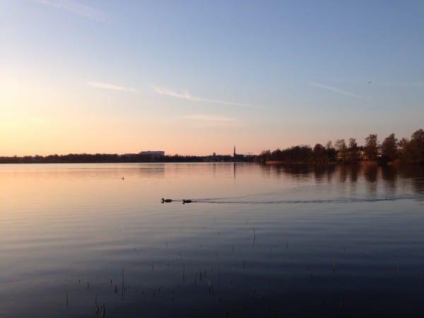 Sonnenuntergang am Växjösjön in Småland