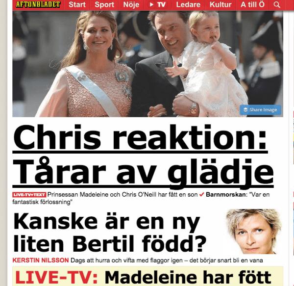 Madeleine Sohn Geburt schwedische Zeitung