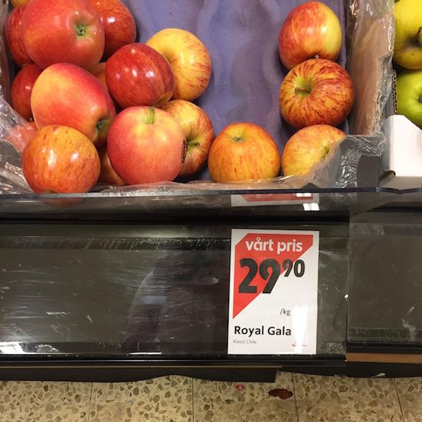 Schweden Lebensmittelpreise Apfel