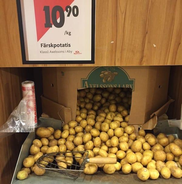 Schweden Lebensmittelpreise Kartoffeln