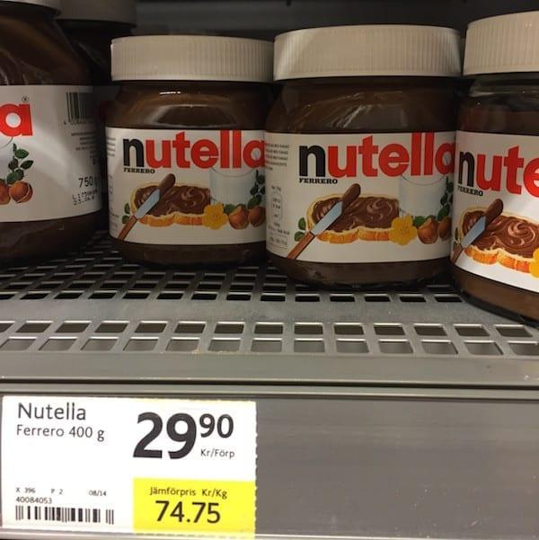 Schweden Lebensmittelpreise Nutella