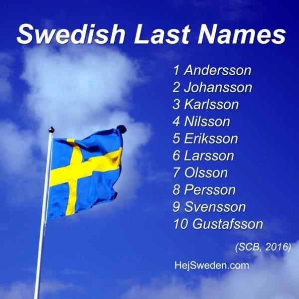 Schwedische Nachnamen 2016