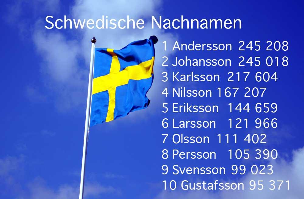 Schwedische Nachnamen Liste Top 10
