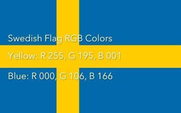 Swedish Flag Colors RGB Farben Schweden Flagge
