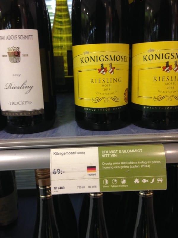 Preise für Wein in Schweden