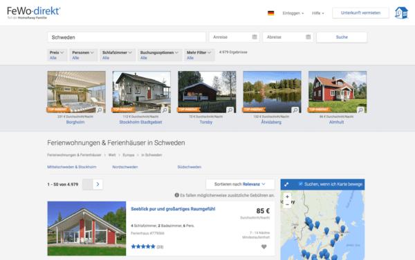Beste Anbieter Ferienhäuser in Schweden FeWo-direkt